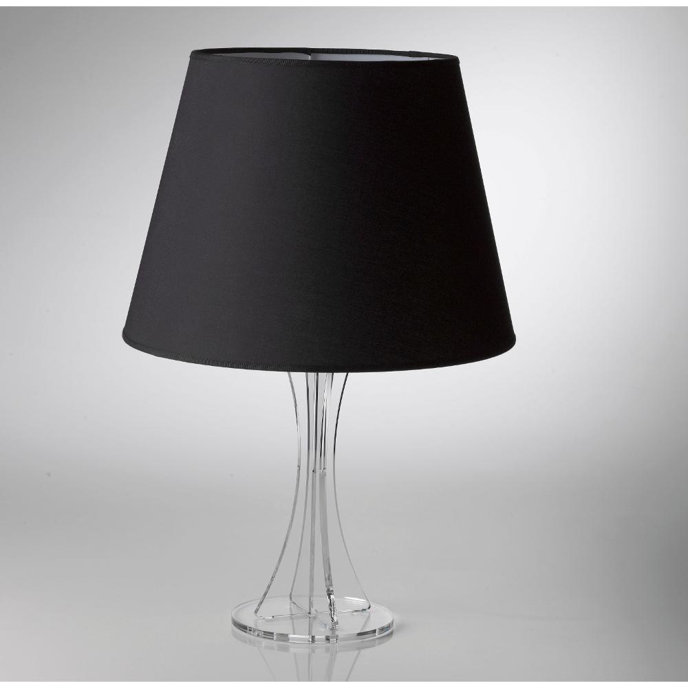 abat jour da tavolo sky supporto in plexiglas paralume colore nero 15xh29 cm vesta stilcasa. Black Bedroom Furniture Sets. Home Design Ideas