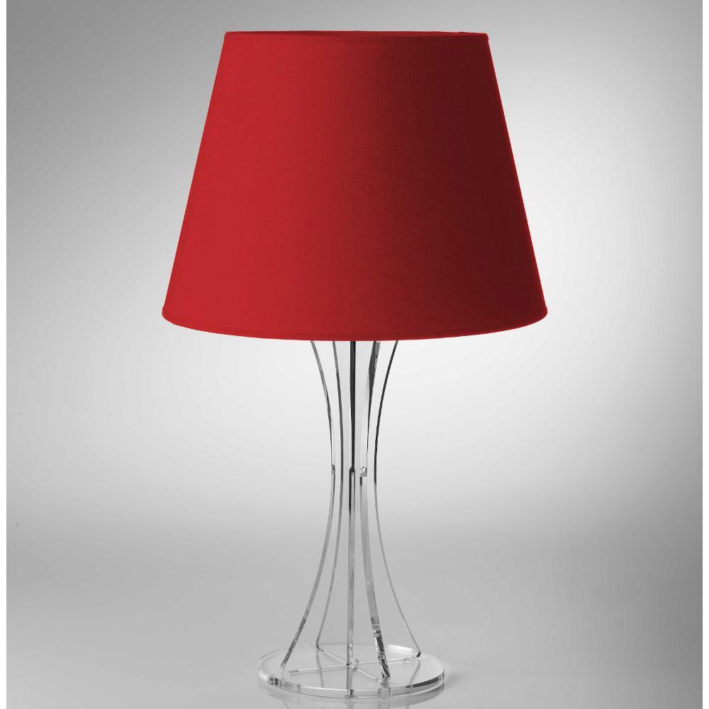 Lampada Da Tavolo Sky Media Supporto In Plexiglas Paralume Colore Rosso O30xh52 Cm Vesta Stilcasa Net Lampade Da Tavolo
