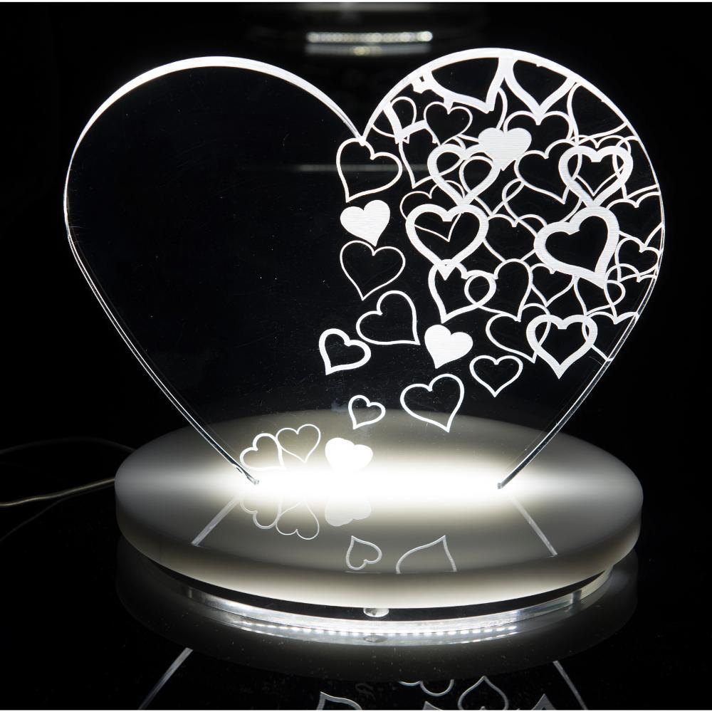 Lampada Da Tavolo A Led 22x15x21h Cm 0 25 W 24 Volt Love In Plexi Con Decoro Inciso Vesta Stilcasa Net Lampade Da Tavolo