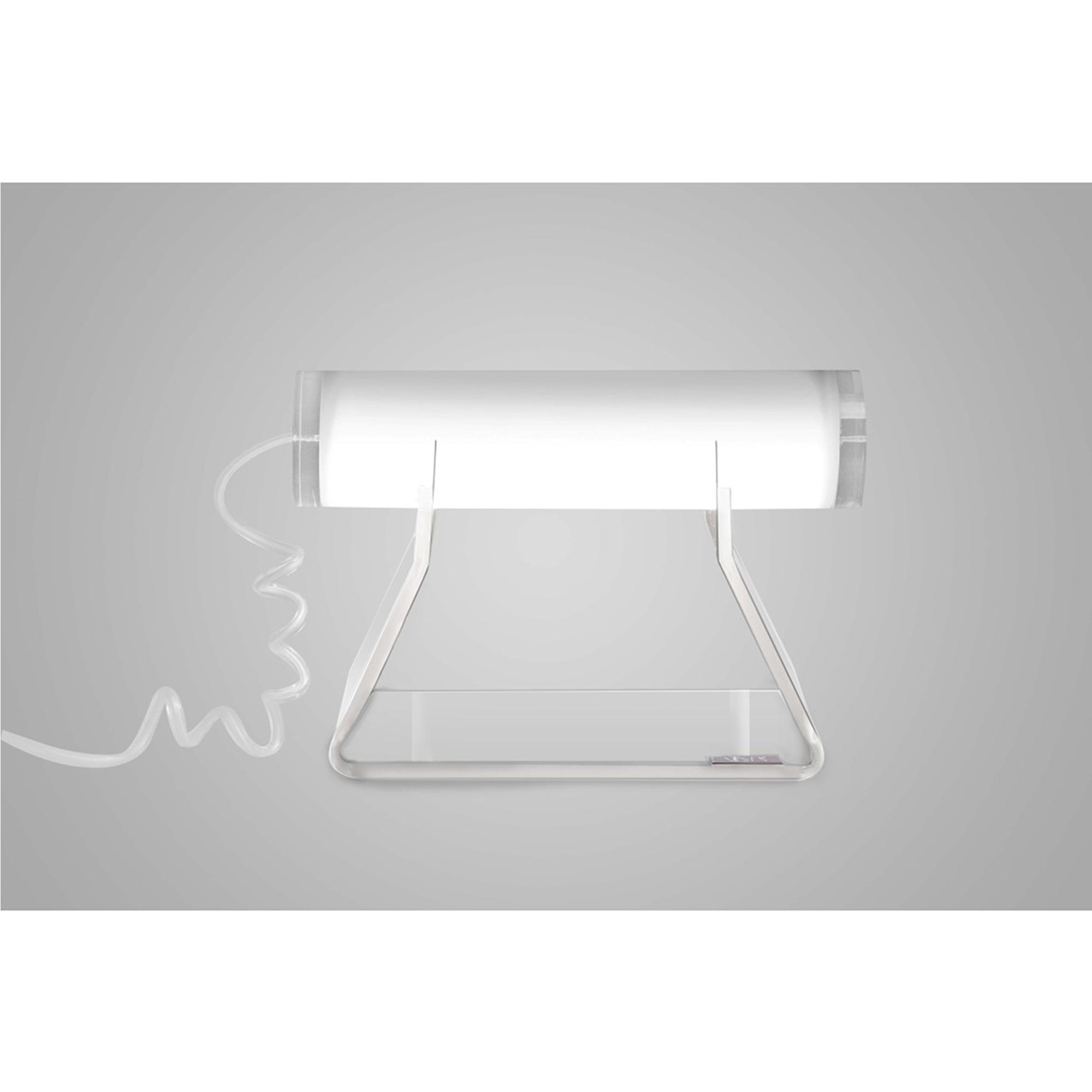 Lampada da tavolo Driin in cristallo acrilico 21x10xh14,5 cm colore telaio Trasparente lampada Bianco