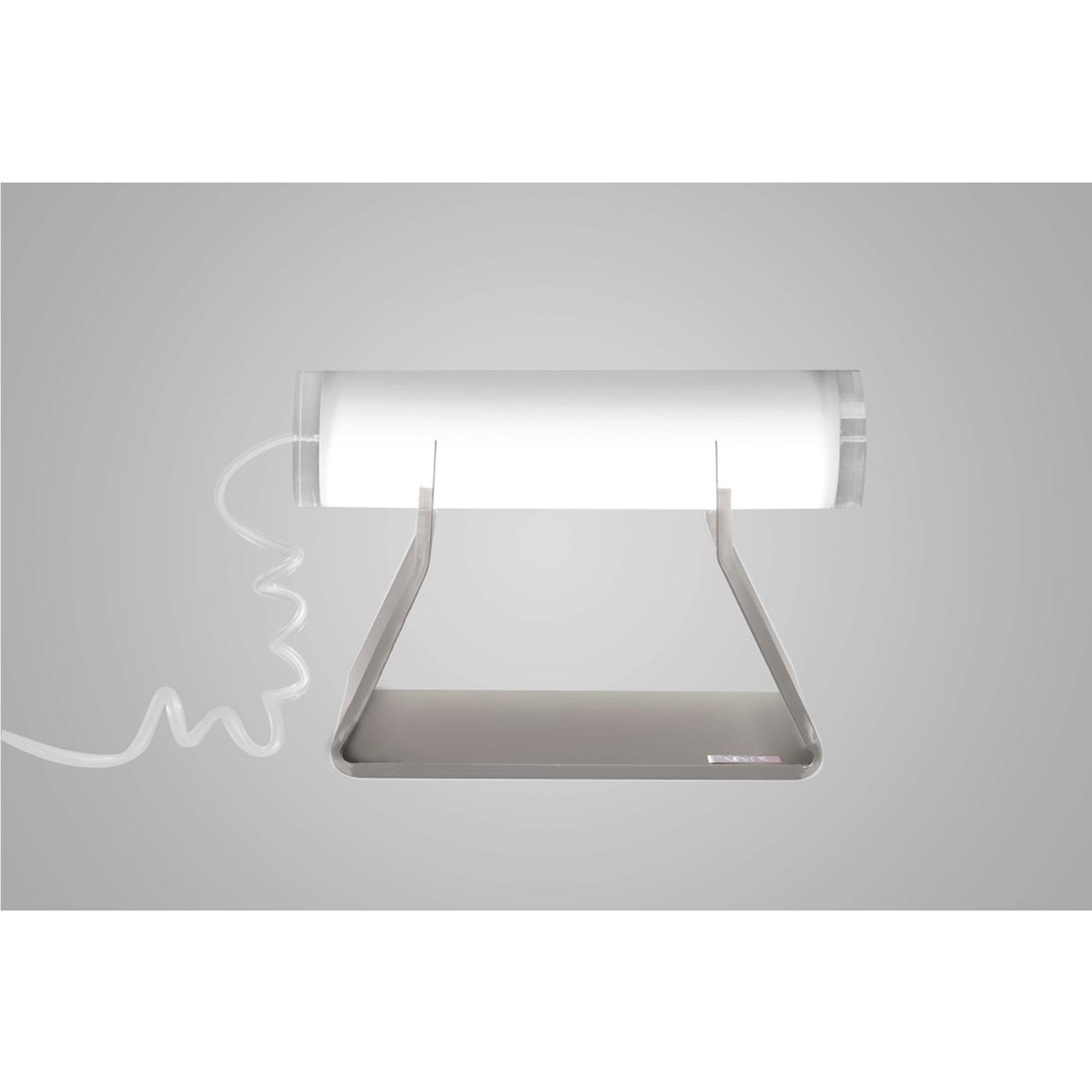 Lampada da tavolo Driin in cristallo acrilico 21x10xh14,5 cm colore telaio tortora lampada Bianco