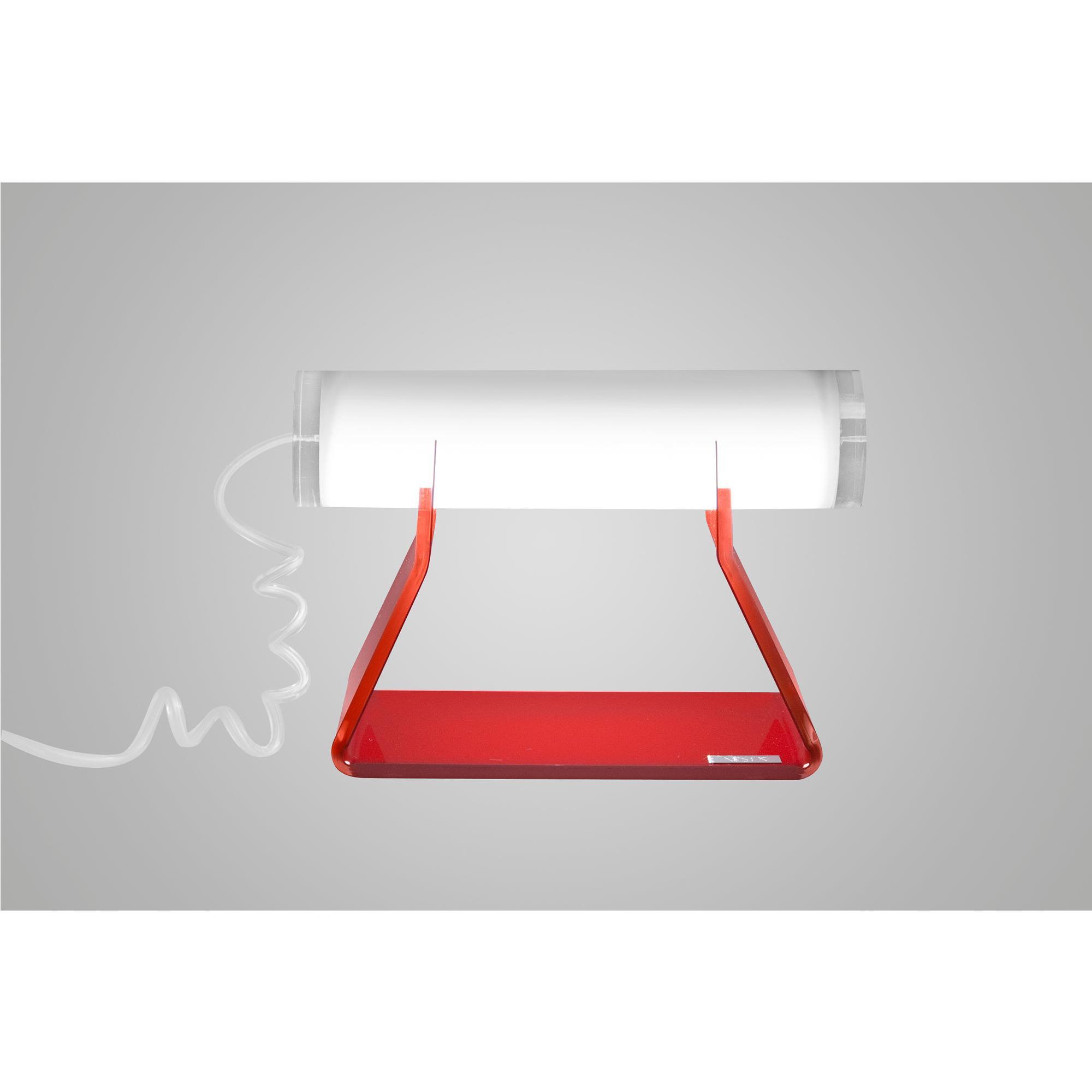 Lampada da tavolo Driin in cristallo acrilico 21x10xh14,5 cm colore telaio rosso lampada Bianco