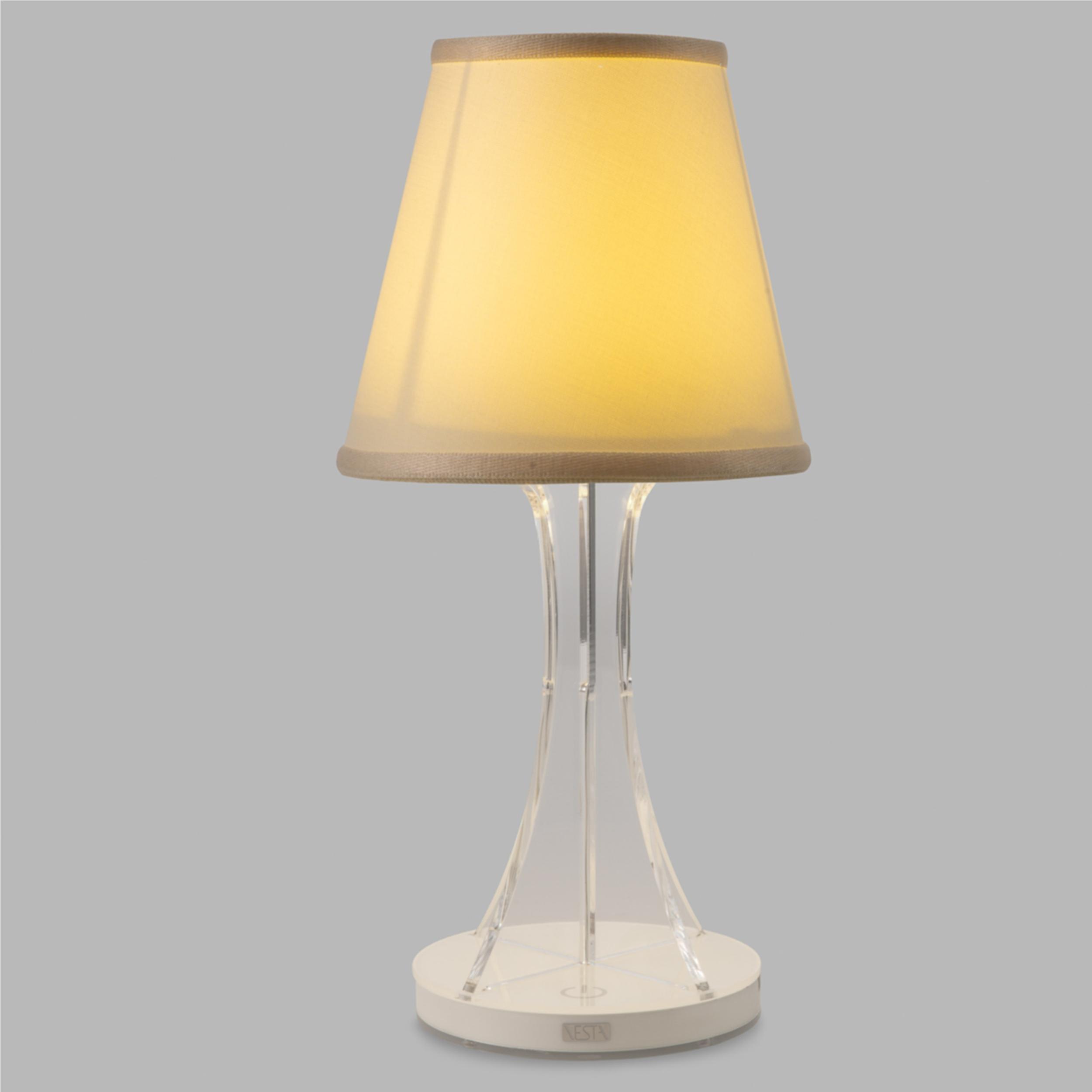 lampada da tavolo abat jour piccola sky led diametro 12xh33cm cappellino in cotone avorio. Black Bedroom Furniture Sets. Home Design Ideas