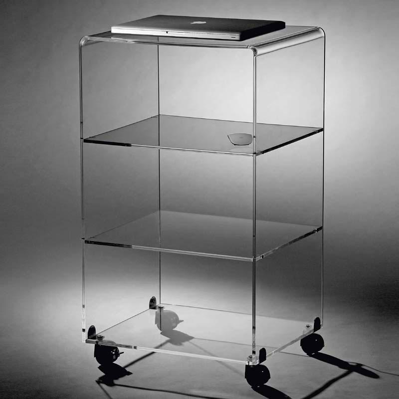 Carrello 48x33xh82 cm multy xl con tre ripiani in plexiglas trasparente e ruote con freno - Mobili in plexiglass ...
