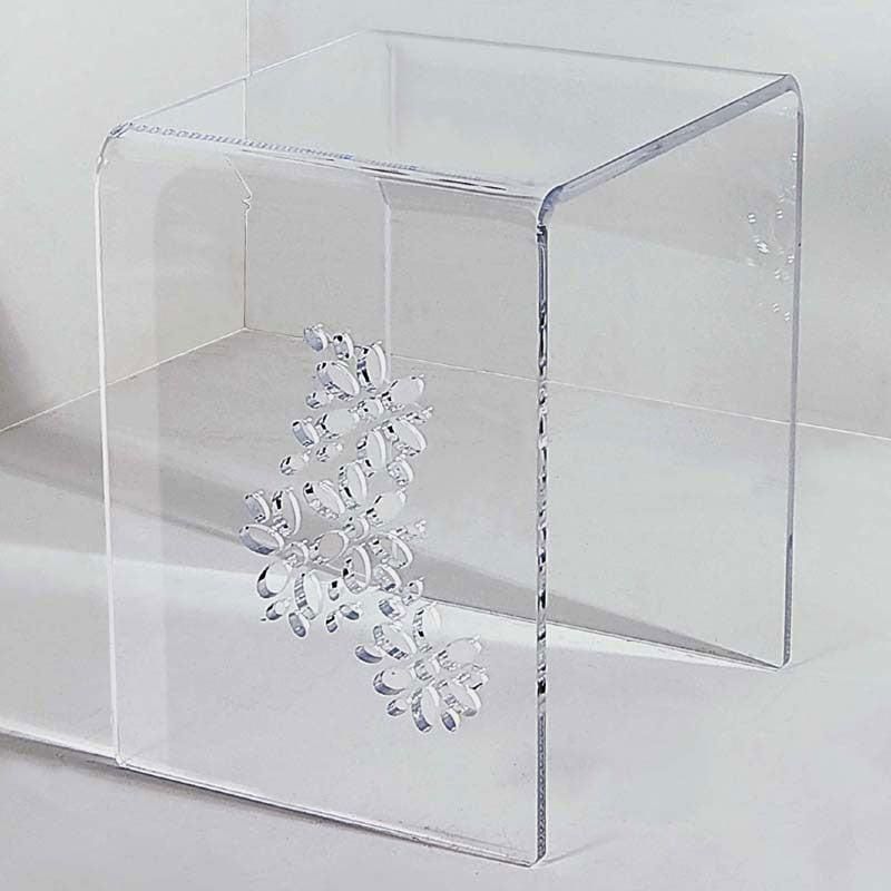 Sgabelli In Plexiglass.Sgabello Tavolinetto Simply Flowers Intagli Floreali In Plexiglas Spessore 12 Mm Vesta