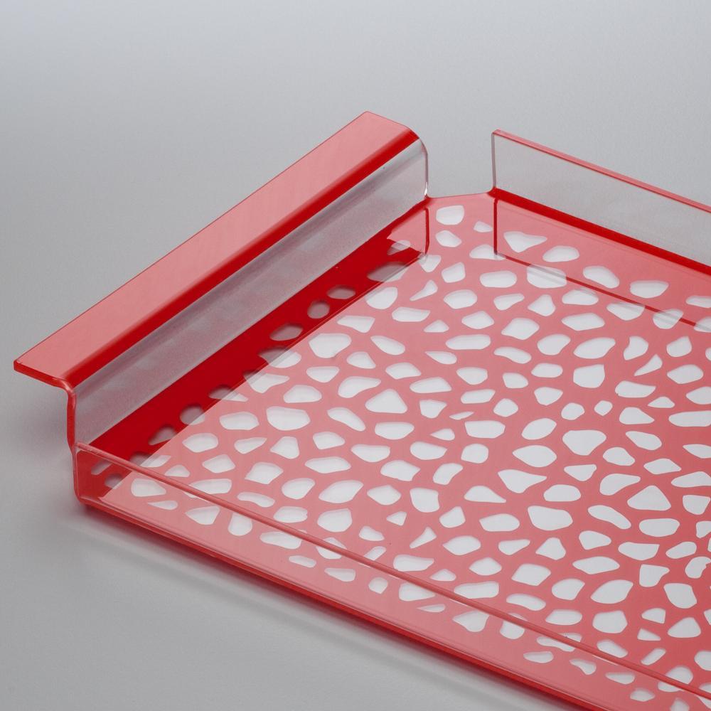 ... da tavola in plexiglas 35x20,5xh2.5 cm con maniglie decoro Pavè rosso