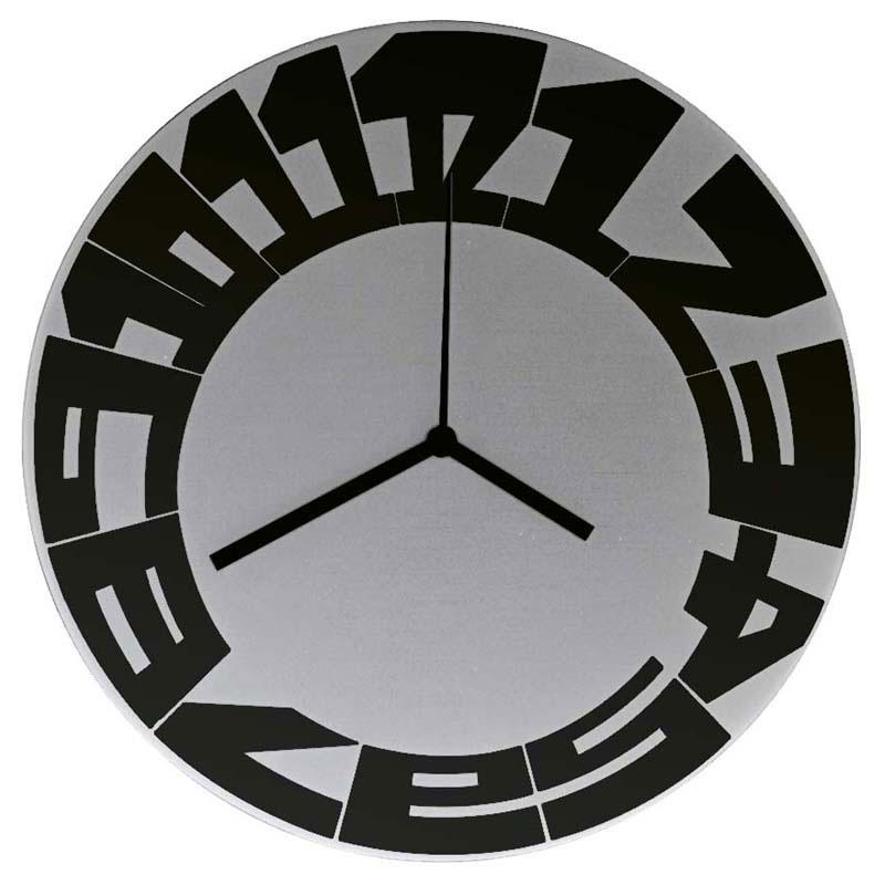 Orologio da parete in acciaio diametro 40 Big Numbers movimento al quarzo  V...