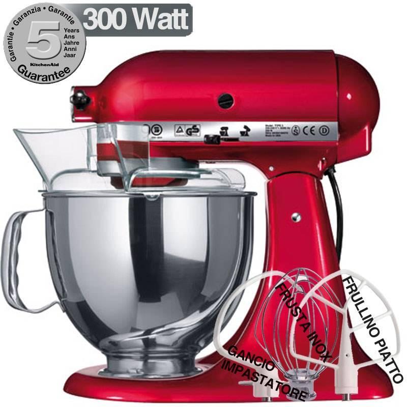Kitchenaid artisan rosso metallizzato 300w garanzia for Pentole kitchenaid