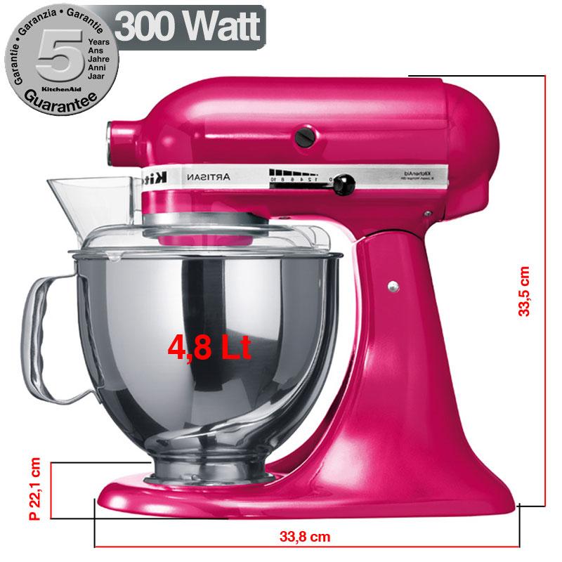 Kitchenaid artisan fucsia metallizzato 300w garanzia for Pentole kitchenaid