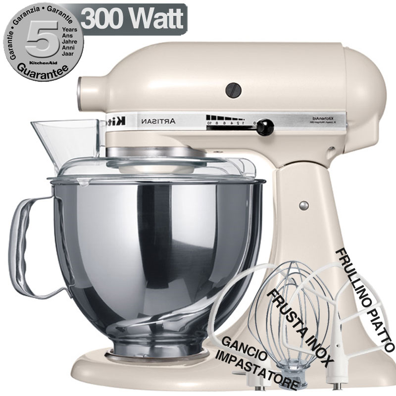 kitchenaid artisan meringa metallizzato 300w garanzia italiana 5ksm150pmw
