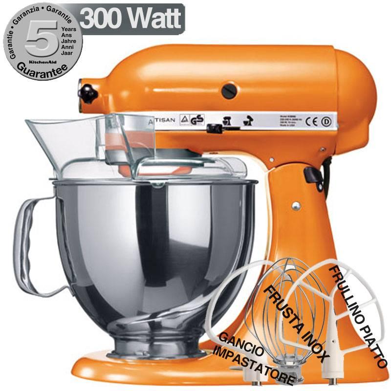 Kitchenaid robot artisan arancione 300w garanzia italiana for Pentole kitchenaid