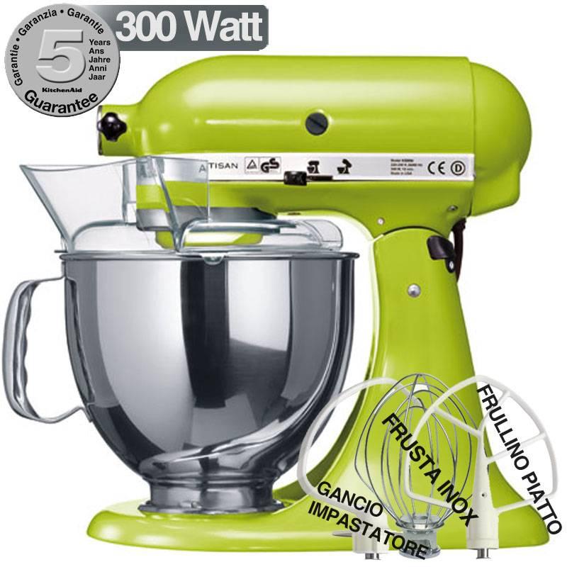 KitchenAid Robot Artisan Verde Mela 300W Garanzia italiana 5KSM150PSV |  KitchenAid
