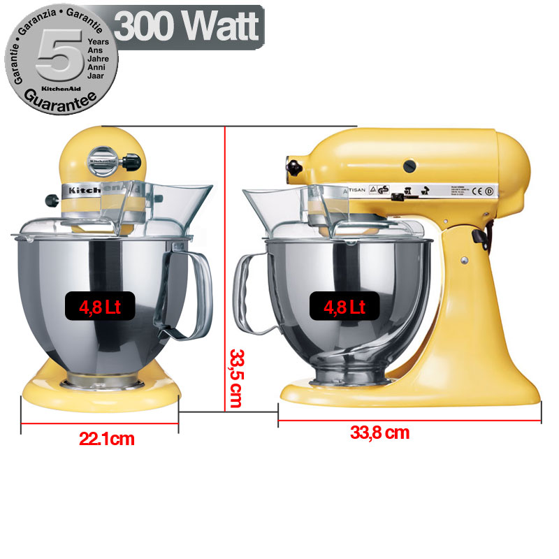 kitchenaid robot artisan giallo 300w garanzia italiana 5ksm150psy kitchenaid stilcasa net. Black Bedroom Furniture Sets. Home Design Ideas