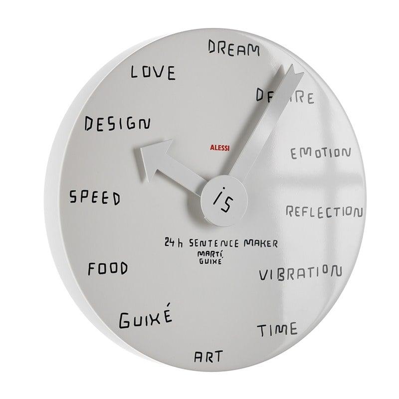 Orologio da parete in alluminio BIANCO con Decoro 24h Sentence Maker ...