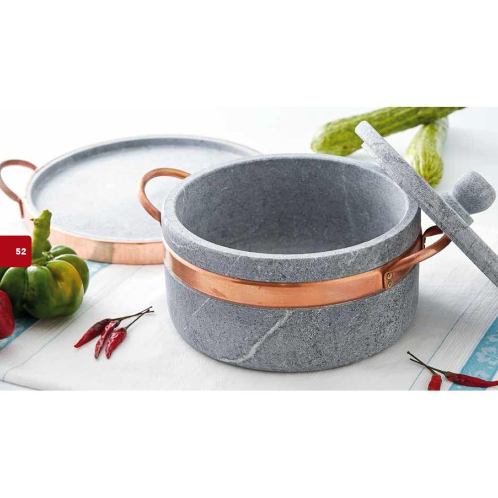 casseruola in pietra ollare diametro 16 2 manici con coperchio con ... - Cucinare Con La Pietra Ollare