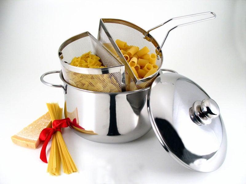 Pentola cuocipasta in acciaio inox con 2 cestelli pentola cm 22 e coperchio duetto 7lt - Robot per cucinare e cuocere ...