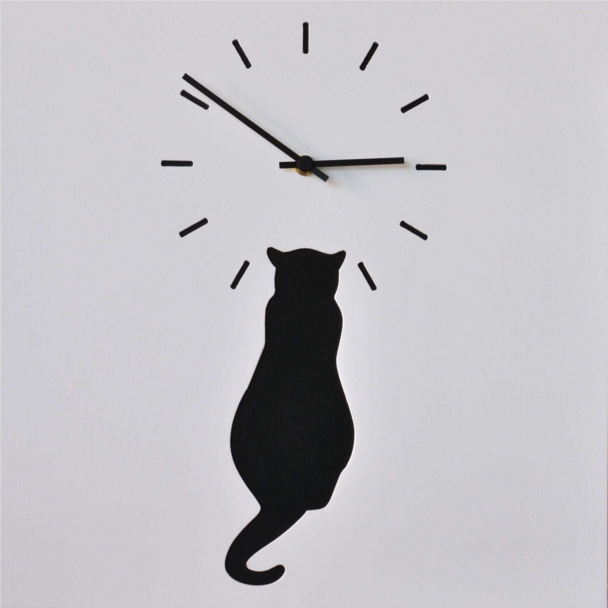 Orologio Da Parete Cat Stampa Su Mdf Laccato 385xh385 Cm Per