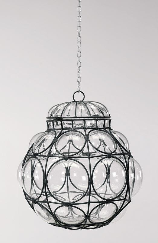 Lampadario da soffitto in vetro soffiato trasparente e for Lampadario da soffitto