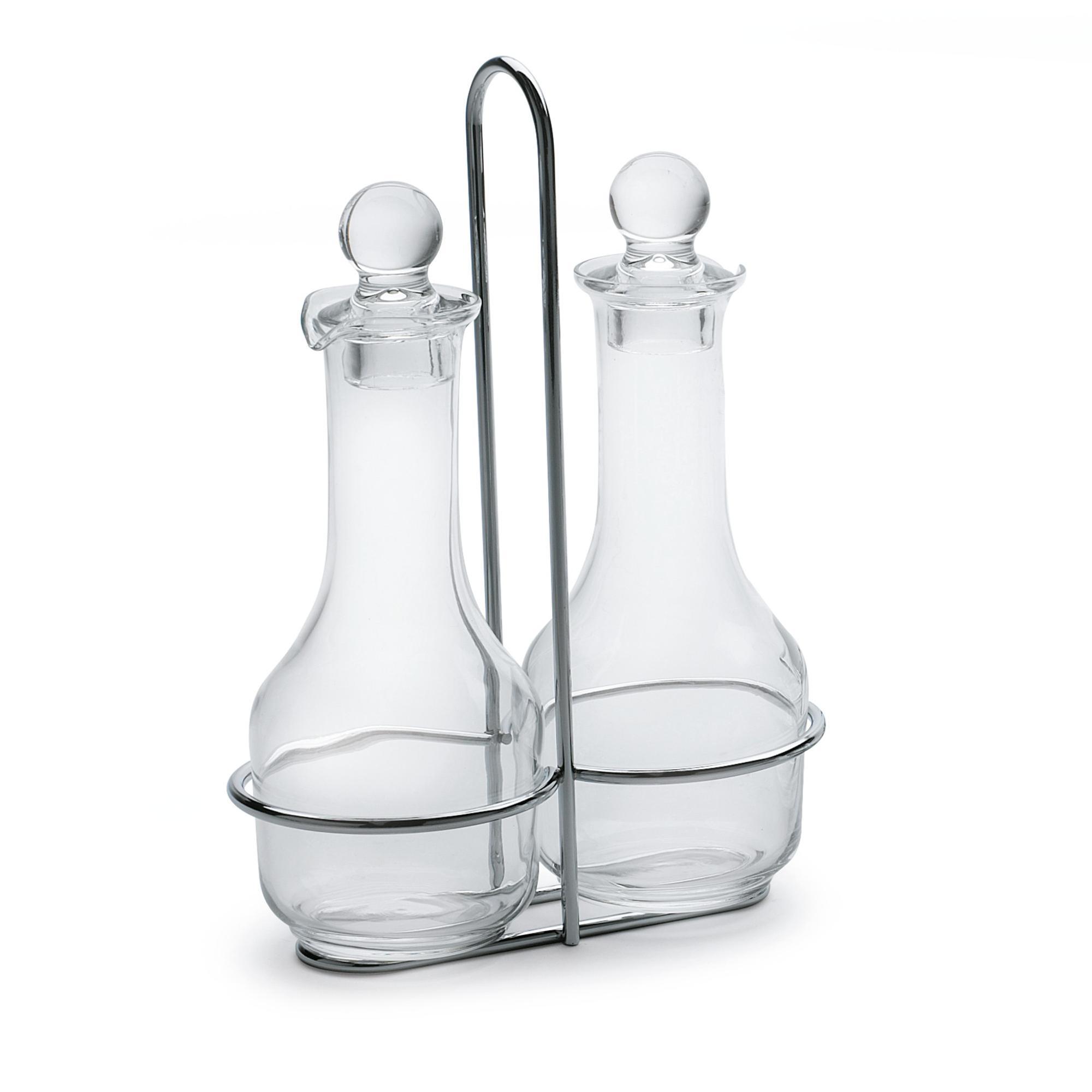Oliera in Filo di acciaio ampolle in vetro e tappo salvagoccia