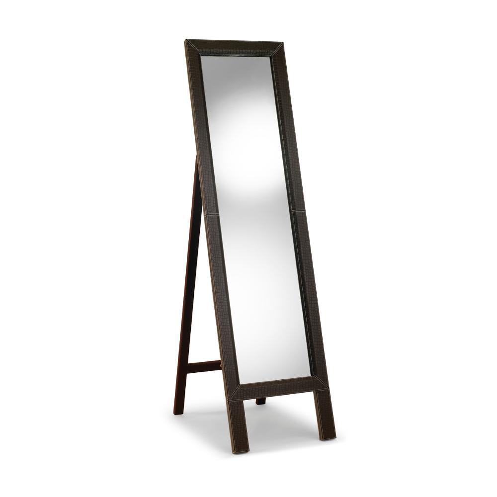 Specchio in legno con cornice ecopelle 45xh170 cm - Specchio in legno ...