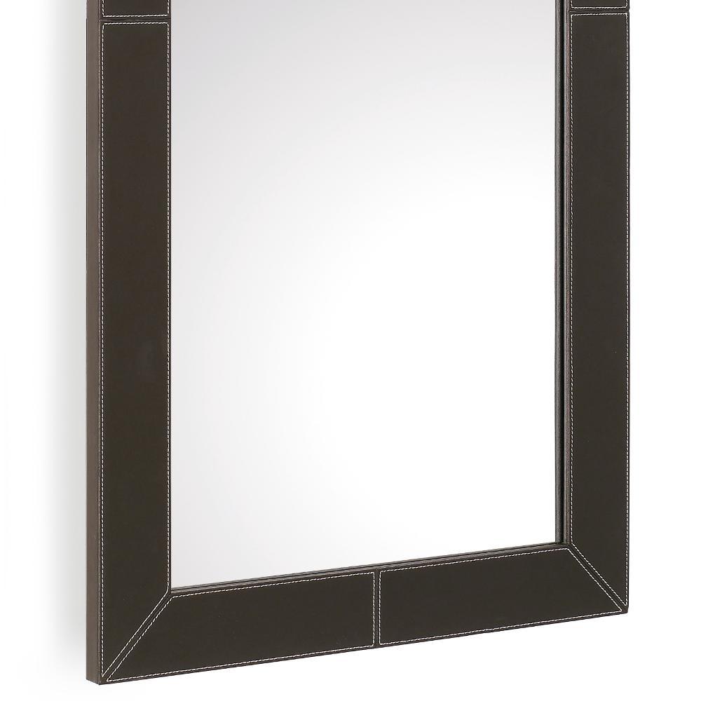 Specchio in legno da appendere con cornice ecopelle - Specchio con cornice ...