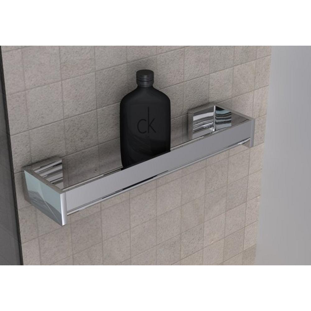 Mensola doccia bagno cromo h6x12x60cm fissaggio adesivo 3 - Mensole per bagno ...