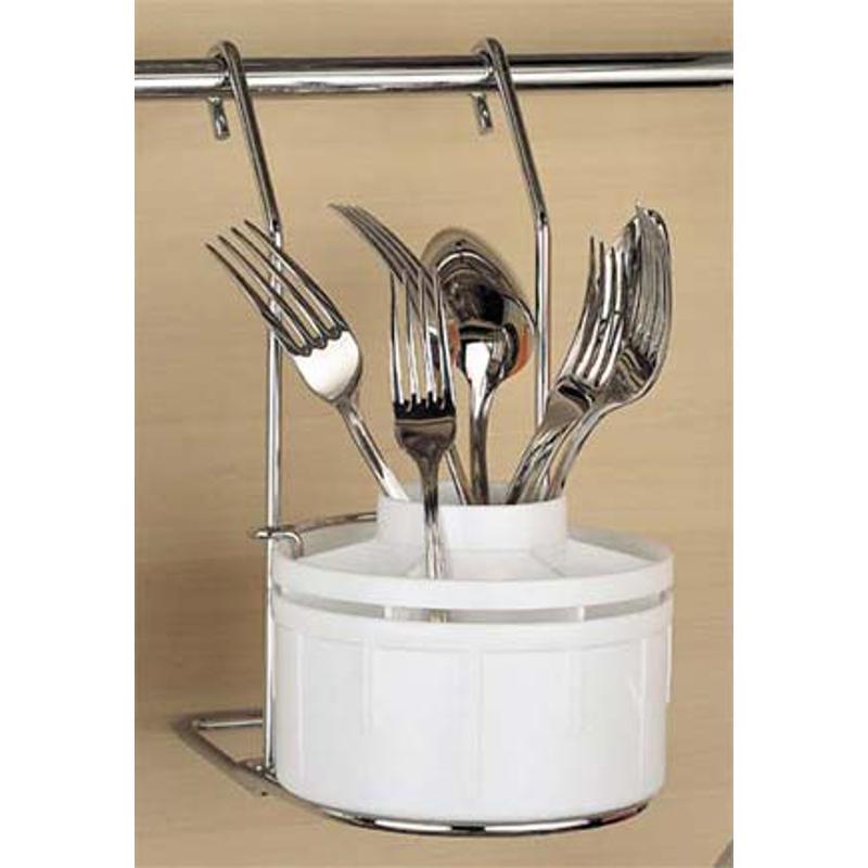Supporto con scolaposate APPLICABILE alla Barra da cucina portautensili  rotonda in acciaio cromo | IBB Spa