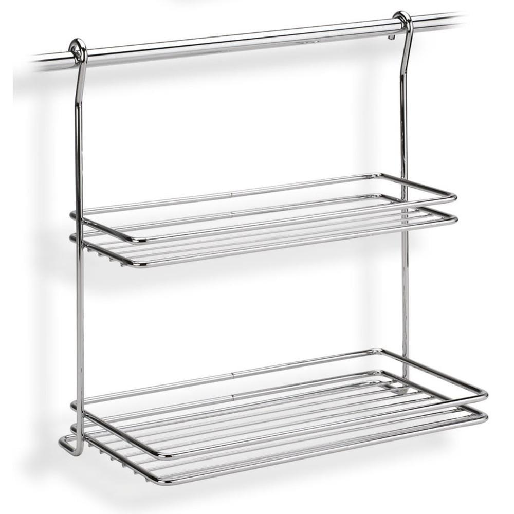 Mensola due piani applicabile alla barra da cucina - Mensole acciaio per cucina ...