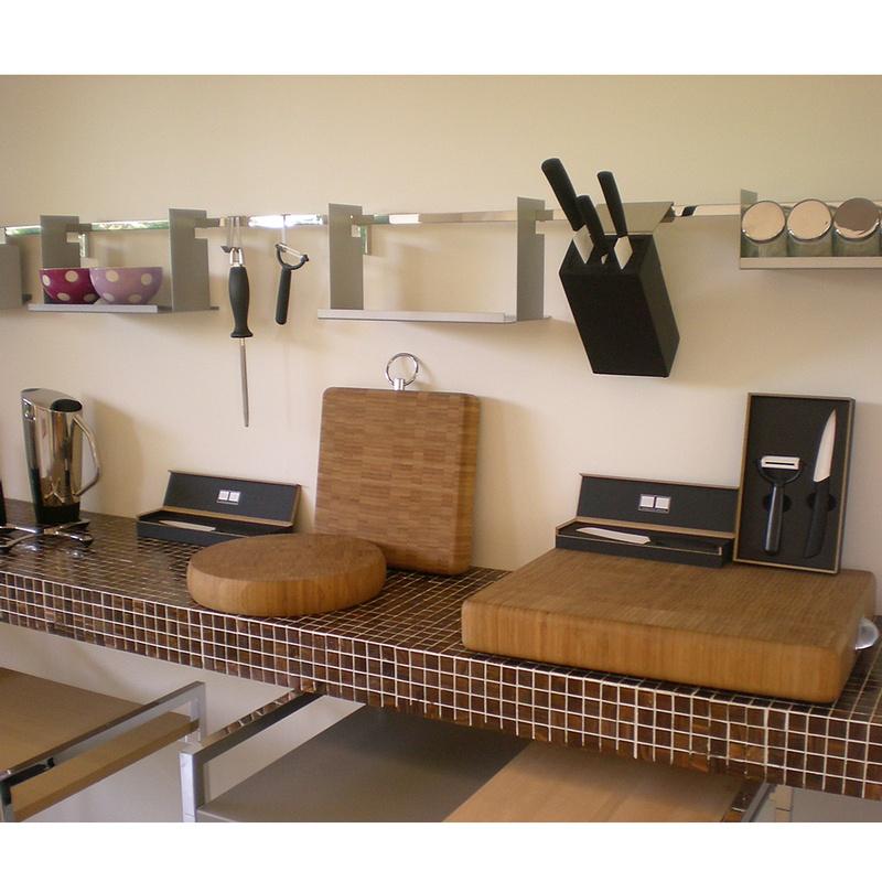 Barra portautensili tubo quadro linea quadro - Barra portautensili cucina ...