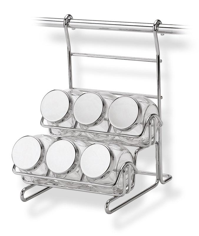 Portaspezie con 6 vasetti appicabile alla barra da cucina - Portaspezie da parete ...