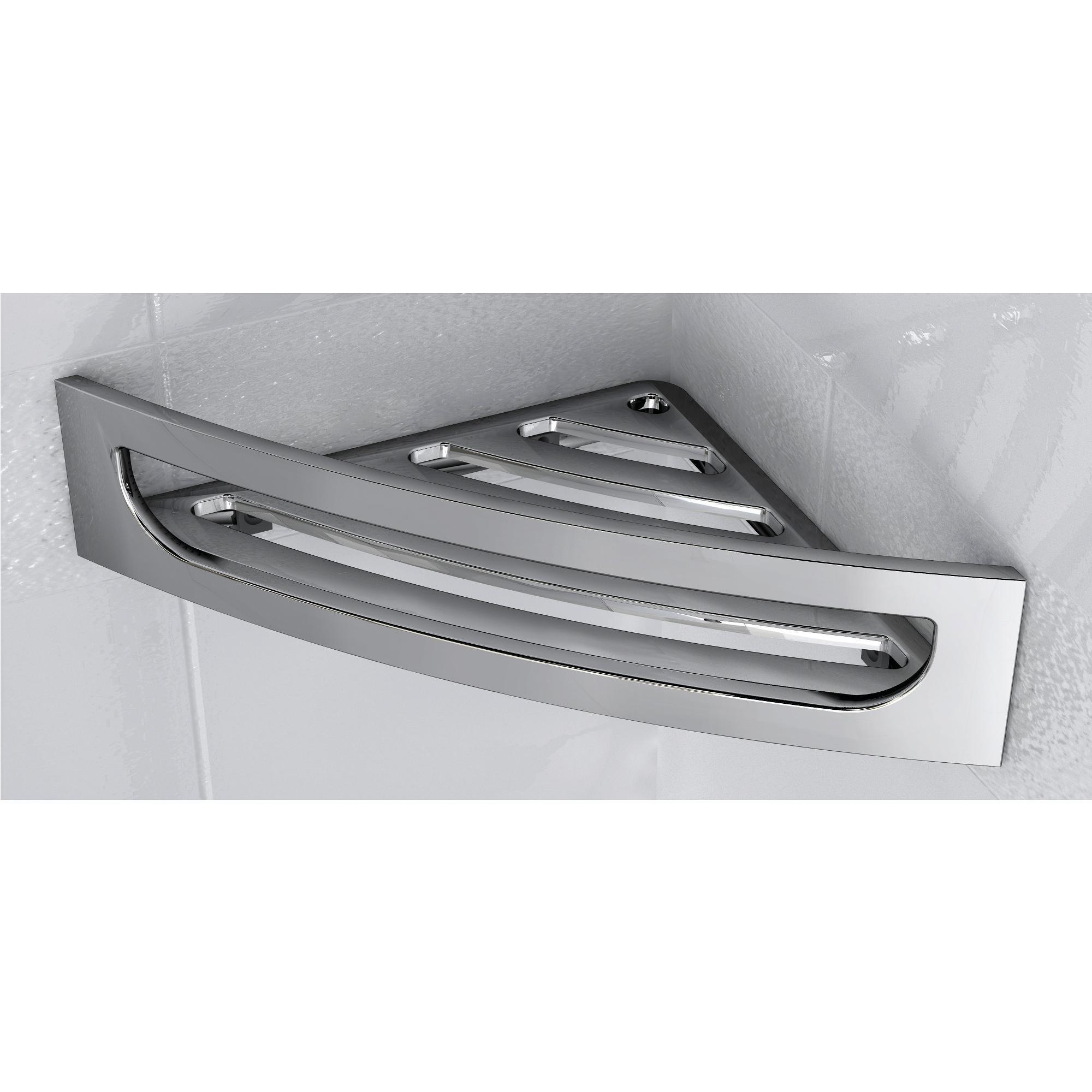 Angolare per doccia in acciaio inox 4hx16x30 cm completo di stop per il montaggio ibb spa - Accessori bagno acciaio inox ...