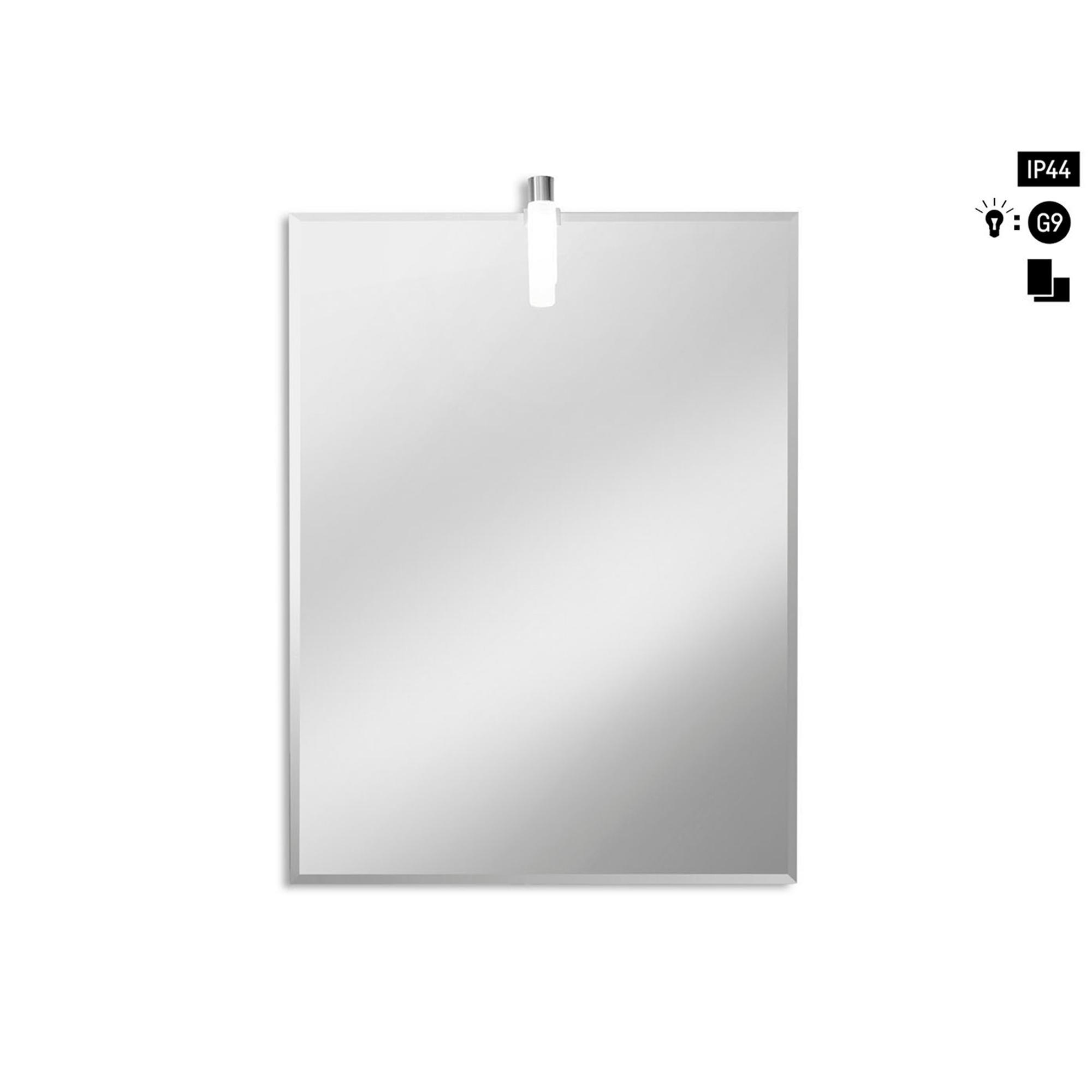 Specchio rettangolare bisellato con luce 60x80x5 cm - Specchio verticale ...