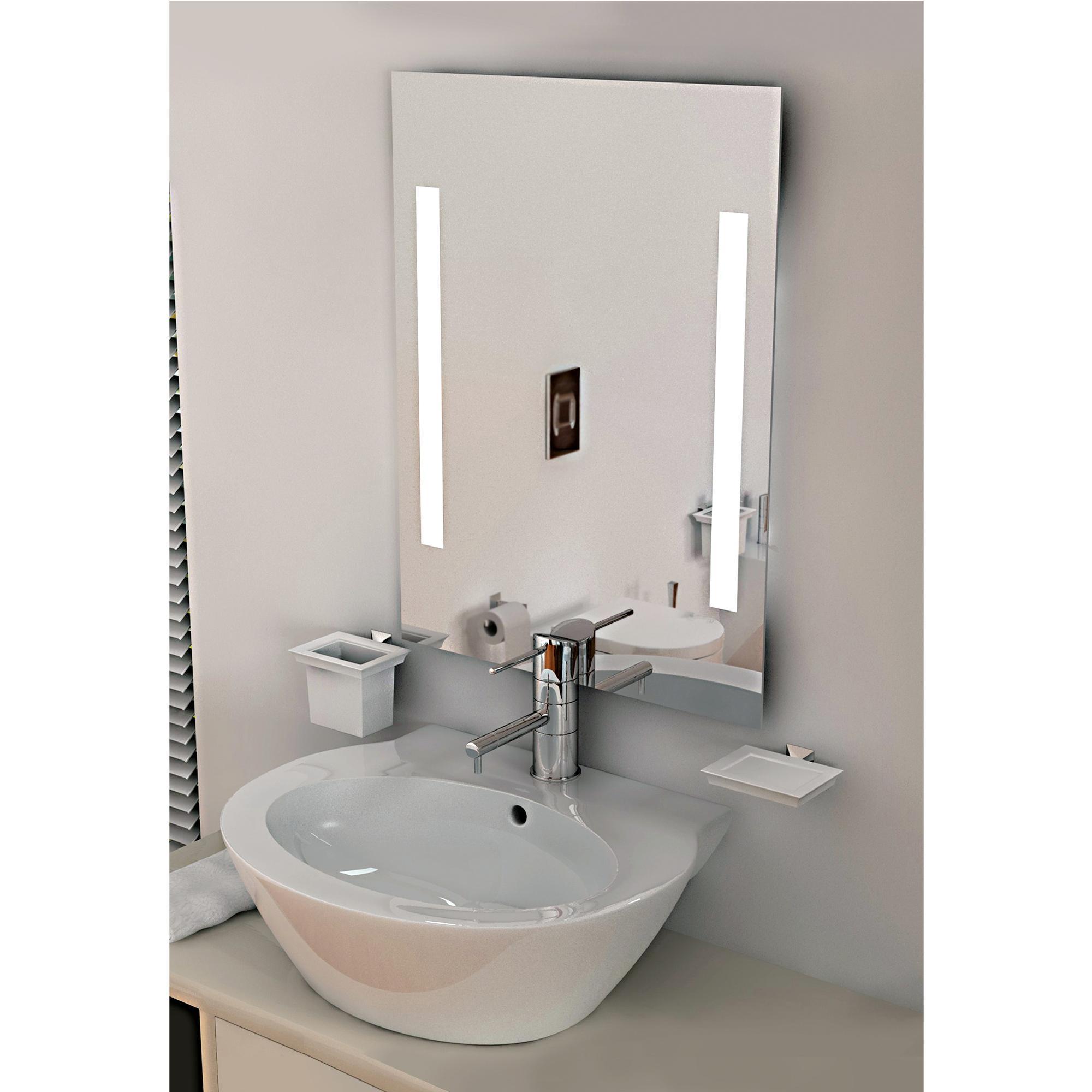 Specchi da bagno con due luci a led 90x60x0 4 cm spessore montaggio orizzontale verticale ibb - Specchi bagno con led ...