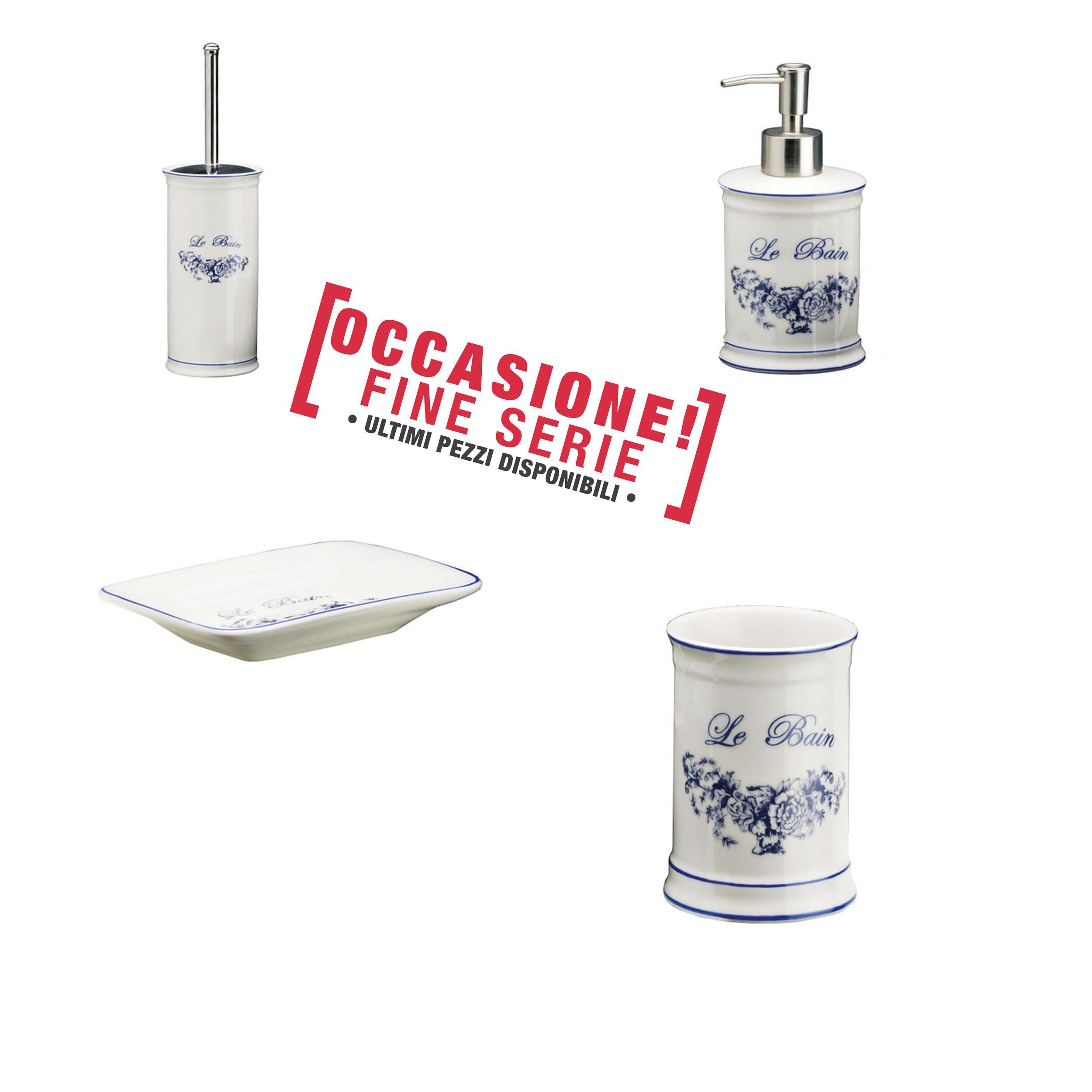Portasapone Bagno In Ceramica.Set Da Bagno 4 Pezzi In Ceramica Provenza Portasapone Bicchiere Dispenser E Portascopino Ibb Spa
