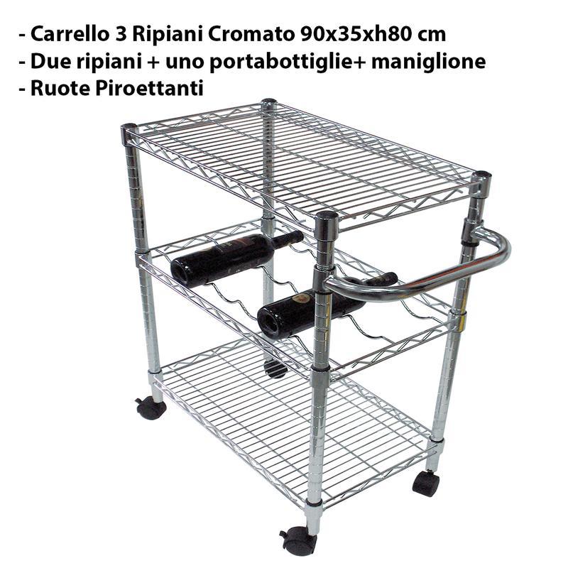 carrello da cucina con tre ripiani 90x35xh80 cm 2 piano e 1 cestello  portabottiglie joy system
