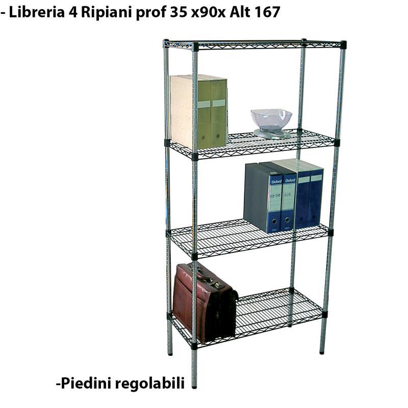 Scaffali In Metallo Cromato.Scaffale Libreria In Metallo Cromato Modulare 35x90h167 Cm Joy