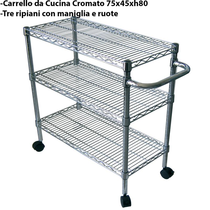 Viceversa Utility System Scaffalature.Carrello Da Cucina 75x45xh80 Cm 3 Ripiani E Maniglia Joysystem Joy System Scaffali