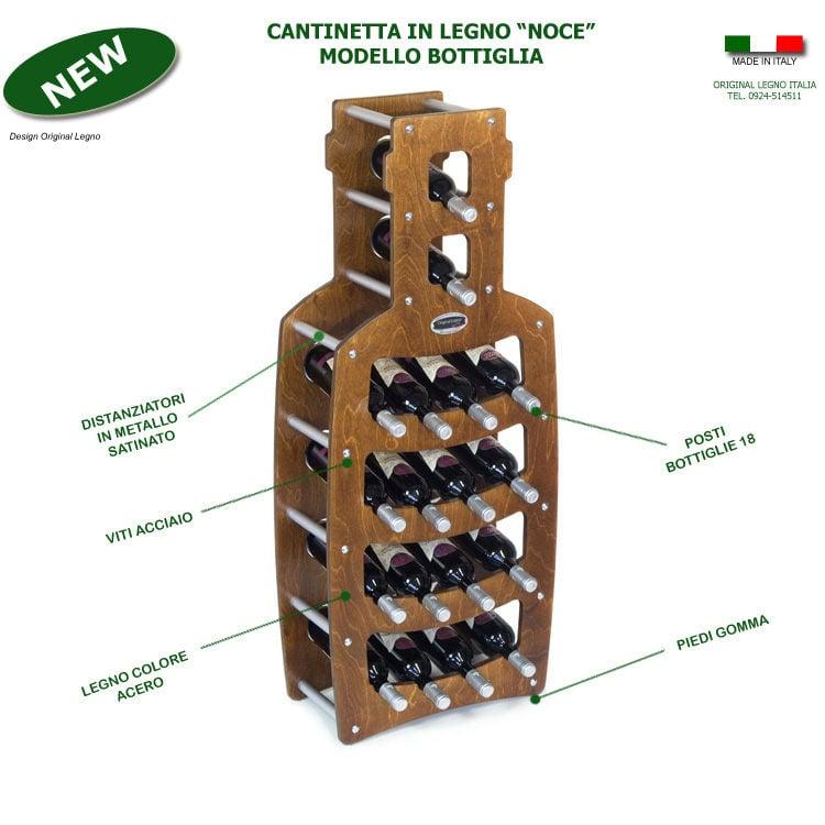 Cantinetta portabottiglie in legno bottiglia 50x25xh120cm for Portabottiglie leroy merlin