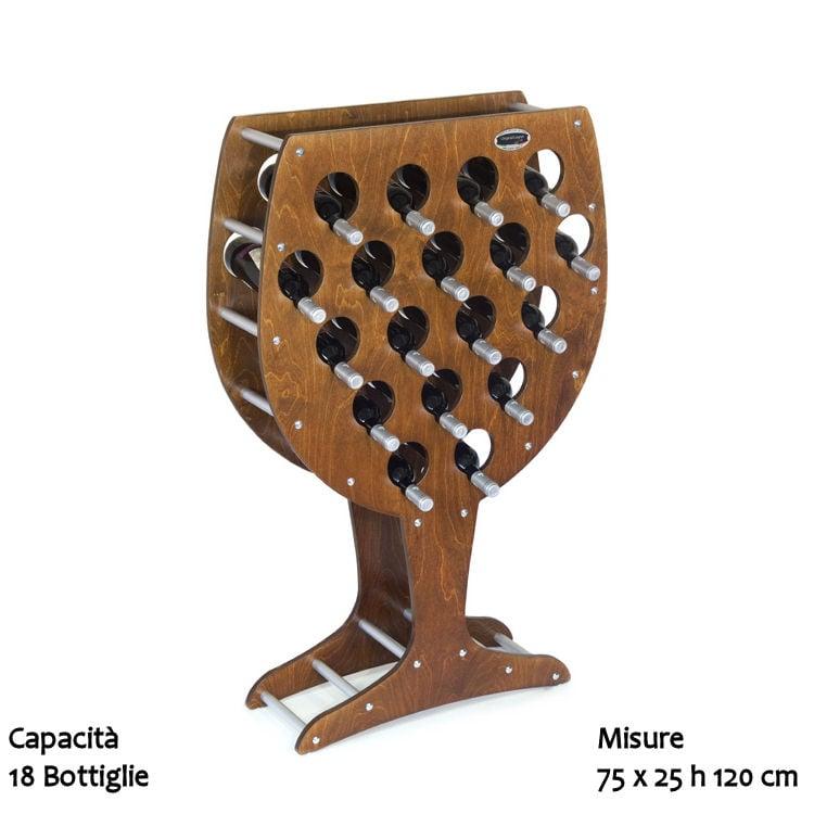 Cantinetta portabottiglie in legno calice 75x25xh150 cm 18 bottiglie noce original legno - Costruire un portabottiglie in legno ...