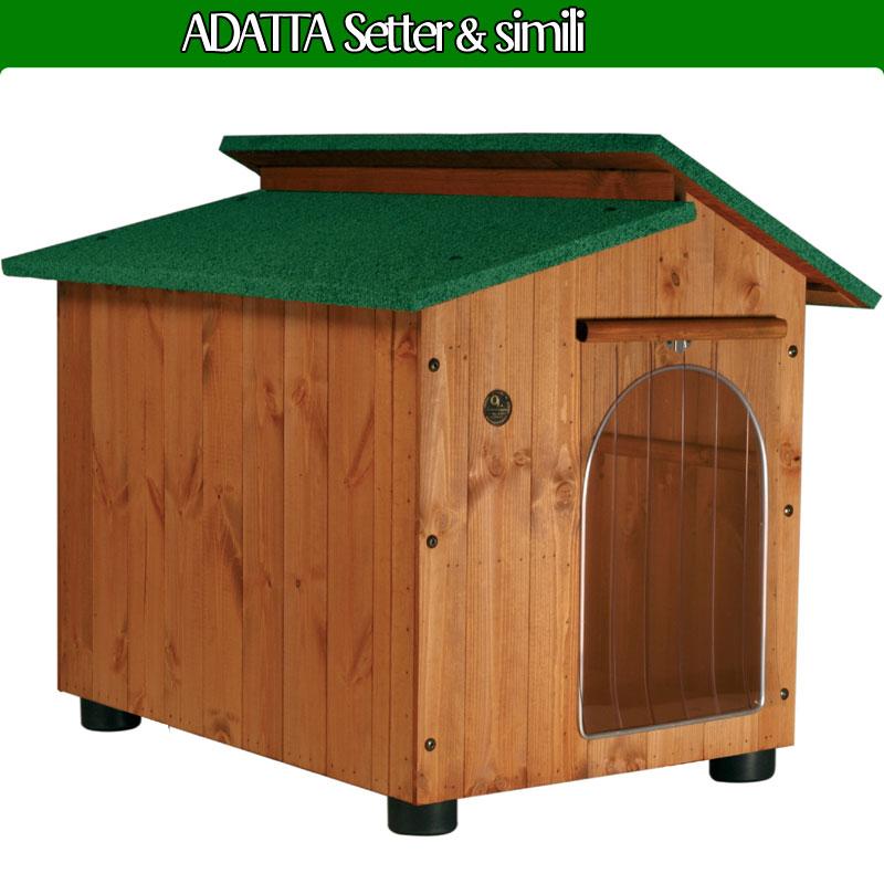 Cuccia per cane setter e simili in legno con tettino for Cucce in coibentato