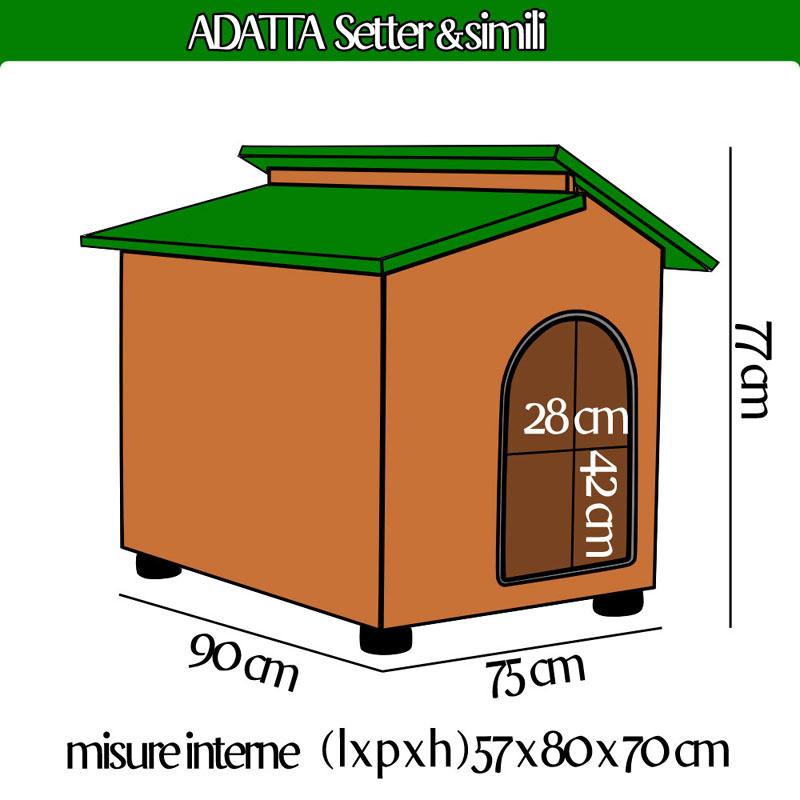 Cuccia per cane setter e simili in legno con tettino for Cuccia per cani ikea prezzi