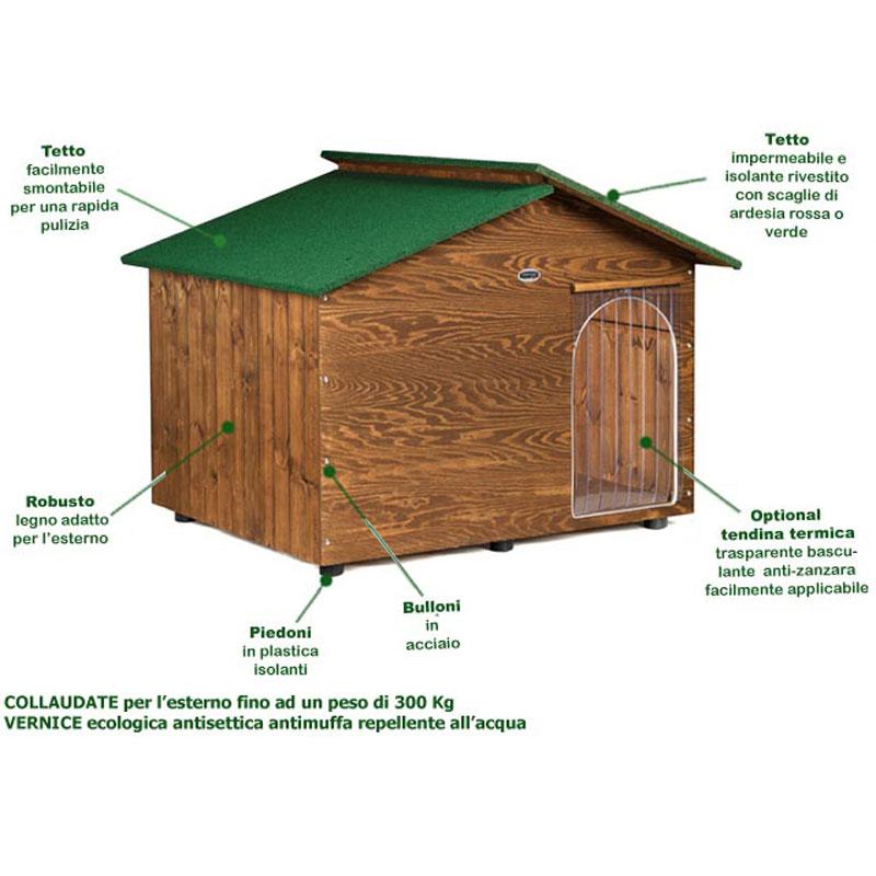 Cuccia per cane in legno extra large con tettino for Cucce per gatti da esterno coibentate