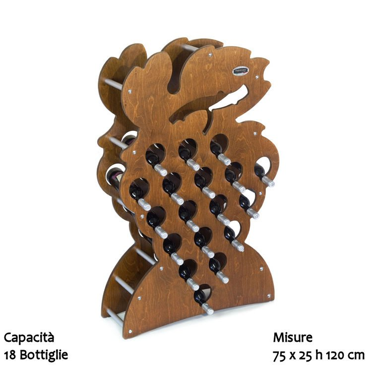 Cantinetta portabottiglie in legno grappolo 18pz - Portabottiglie vino in legno ...