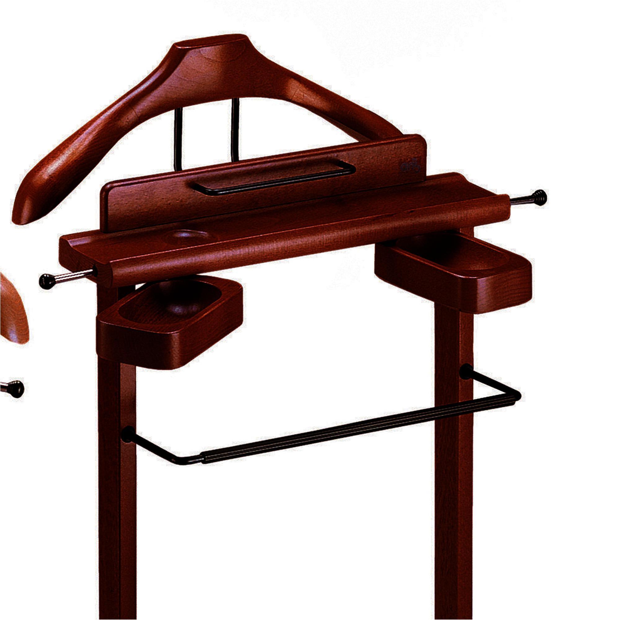 Indossatore appendiabiti con Portaoggetti in legno massiccio GALANT Wengè  A...