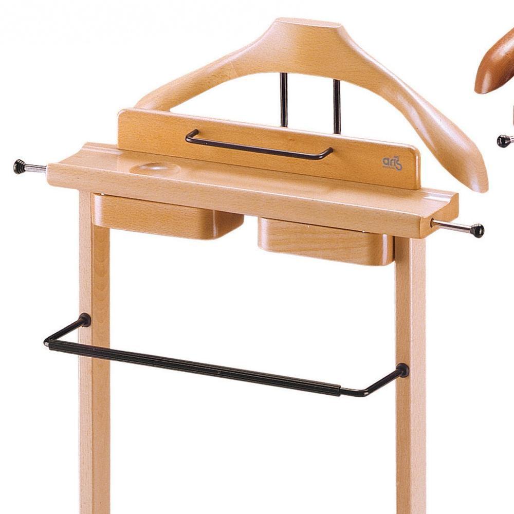 Indossatore appendiabiti con Portaoggetti in legno massiccio GALANT Naturale ...