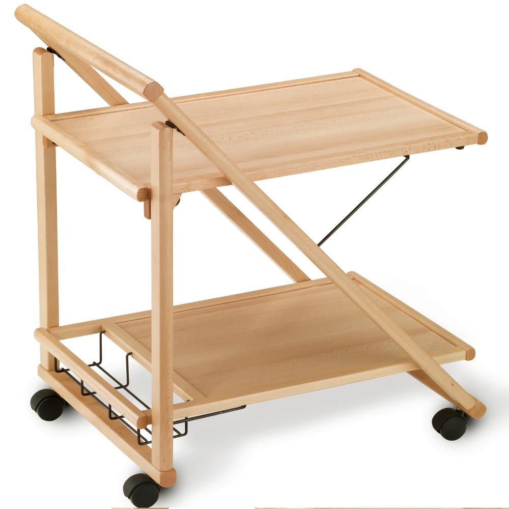 Carrello porta vivande a due ripiani struttura in legno for Carrello porta ombrellone e sdraio