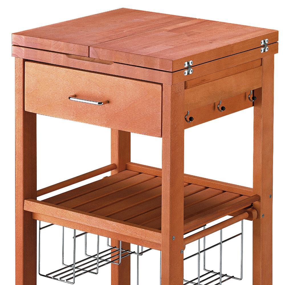 Carrello porta vivande in legno massiccio con tagliere for Carrello portalegna da arredamento