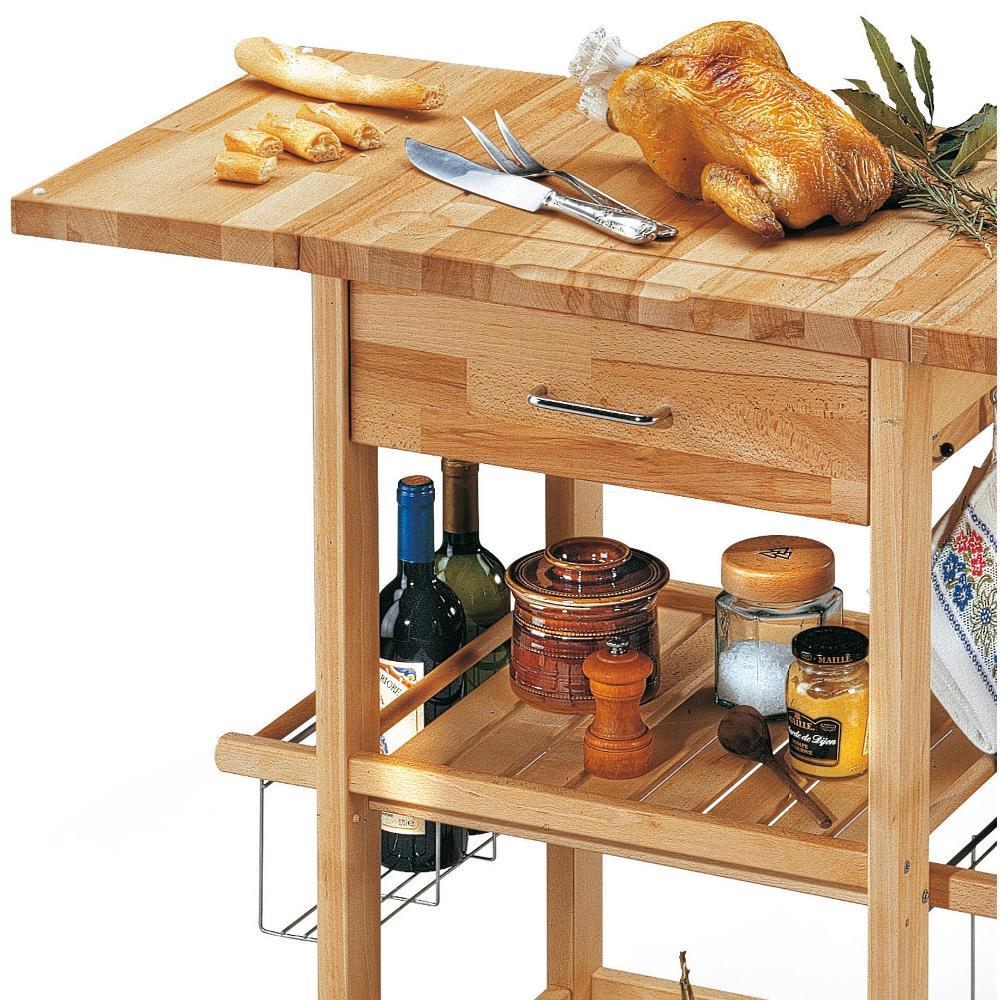 Carrello porta vivande in legno massiccio con tagliere - Carrello portafrutta legno ...