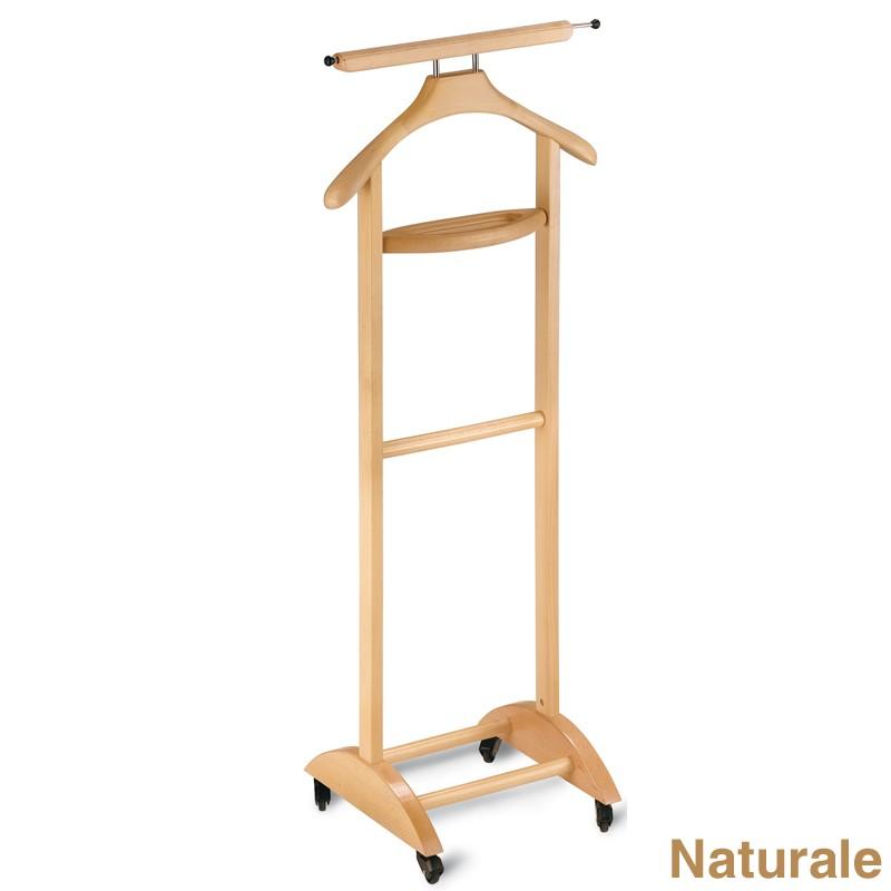 Indossatore Camera Legno Akia : Indossatore appendiabiti in legno con vaschetta
