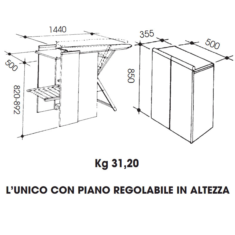 Asse da stiro mobiletto regolabile in altezza richiudibile a mobiletto polystir peso kg - Asse da stiro da parete ...